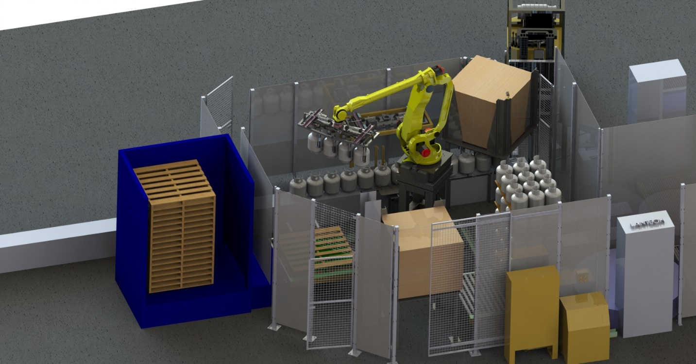 Custom Designed Robotic Cell Tank Palletizing - MJ Engineering