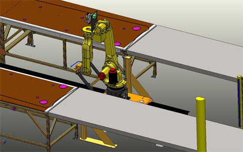 Custom Designed Fiberglass Processing Robotic Cell for the Truck Industry