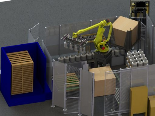 Custom Designed Robotic Cell Tank Palletizing